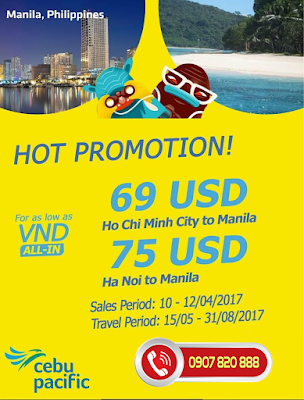 Khuyến mãi Cebu đi Manila chỉ từ 69 USD