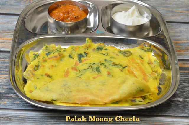 Palak Moongdal Cheela   Spinach Moong Crepes