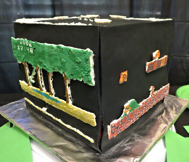 Retro Video Game Cake - Showing Pitfall and Mario Sides