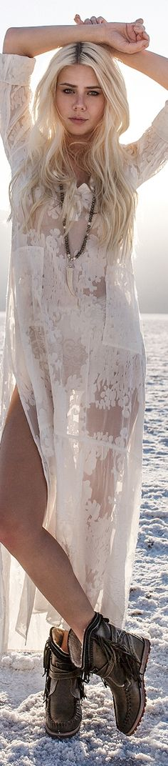 Summer fashion | While lace boho maxi dress