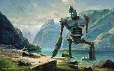 The Iron Giant at the lake in the mountains by Switzerland original background by Alexey Svrasov