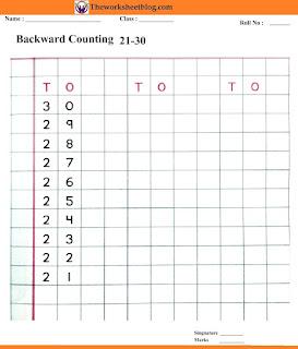 Backward counting 30-21 worksheets