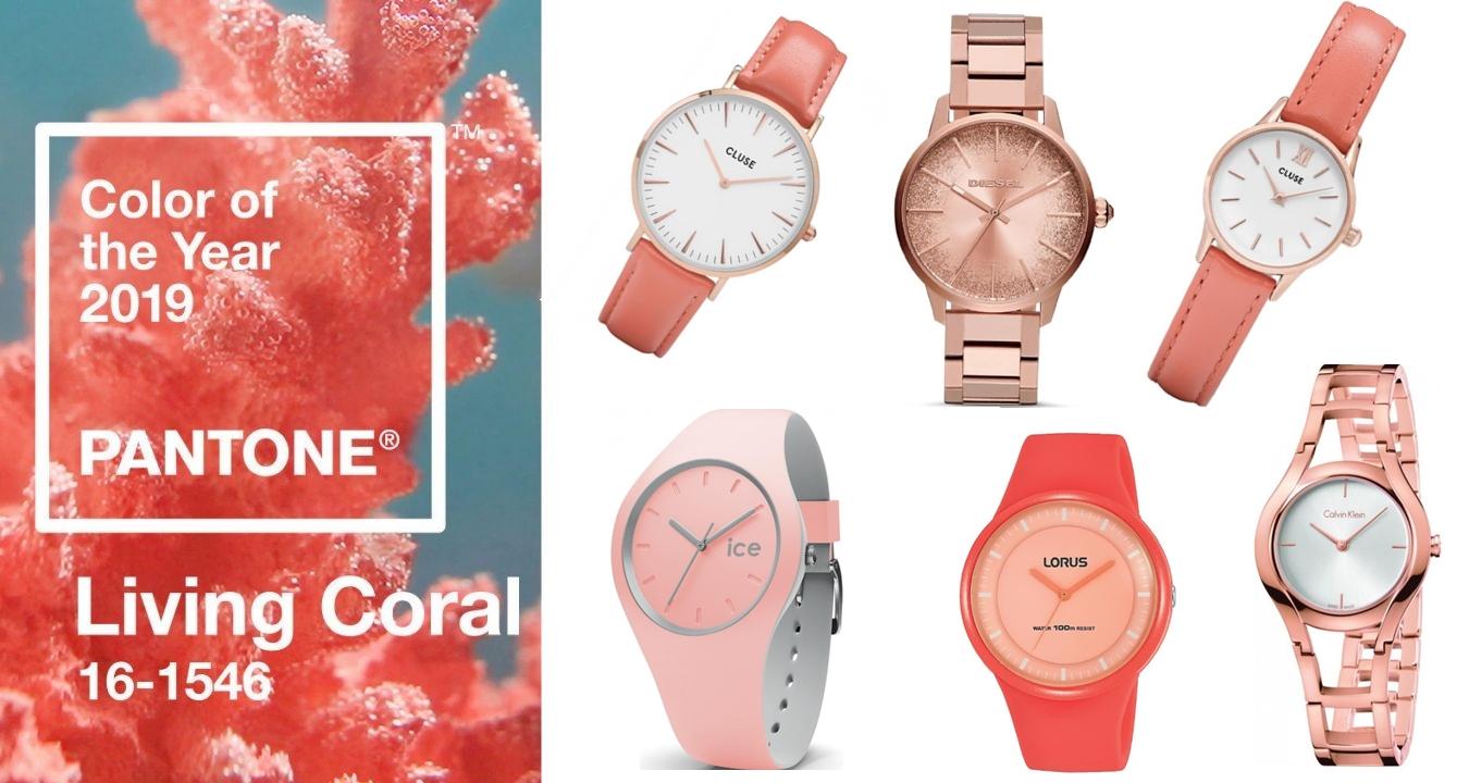 5 damskich zegarków w kolorze roku Living Coral