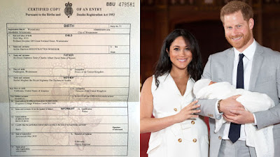 Archie's Birth certificate shows his birthplace and more about  Meghan and her status