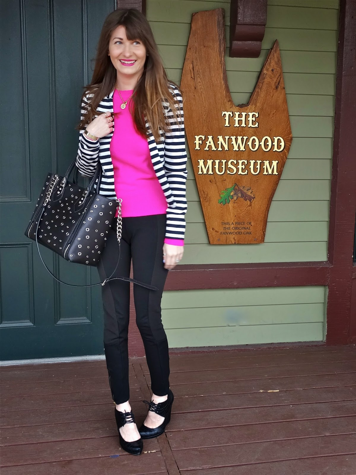 Henri Bendel Bag, Warehouse Blazer, Zara Pants, Neon Sweater