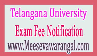 Telangana University UG Annual March 2017 Exam Fee Notification
