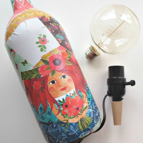 This is a fun crafty gift idea a lamp with an Edison bulb and a decoupaged wine bottle!