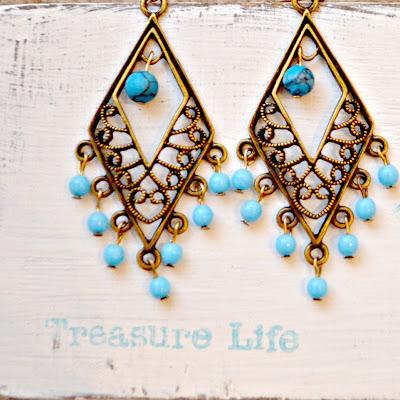 dangle earrings, antique brass, turquoise earrings, jewelry
