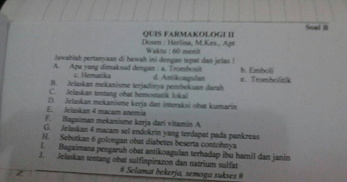Soal Quiz Farmakologi 2 Farmasi Unsri Welcome To My Blog Chinggu Ya