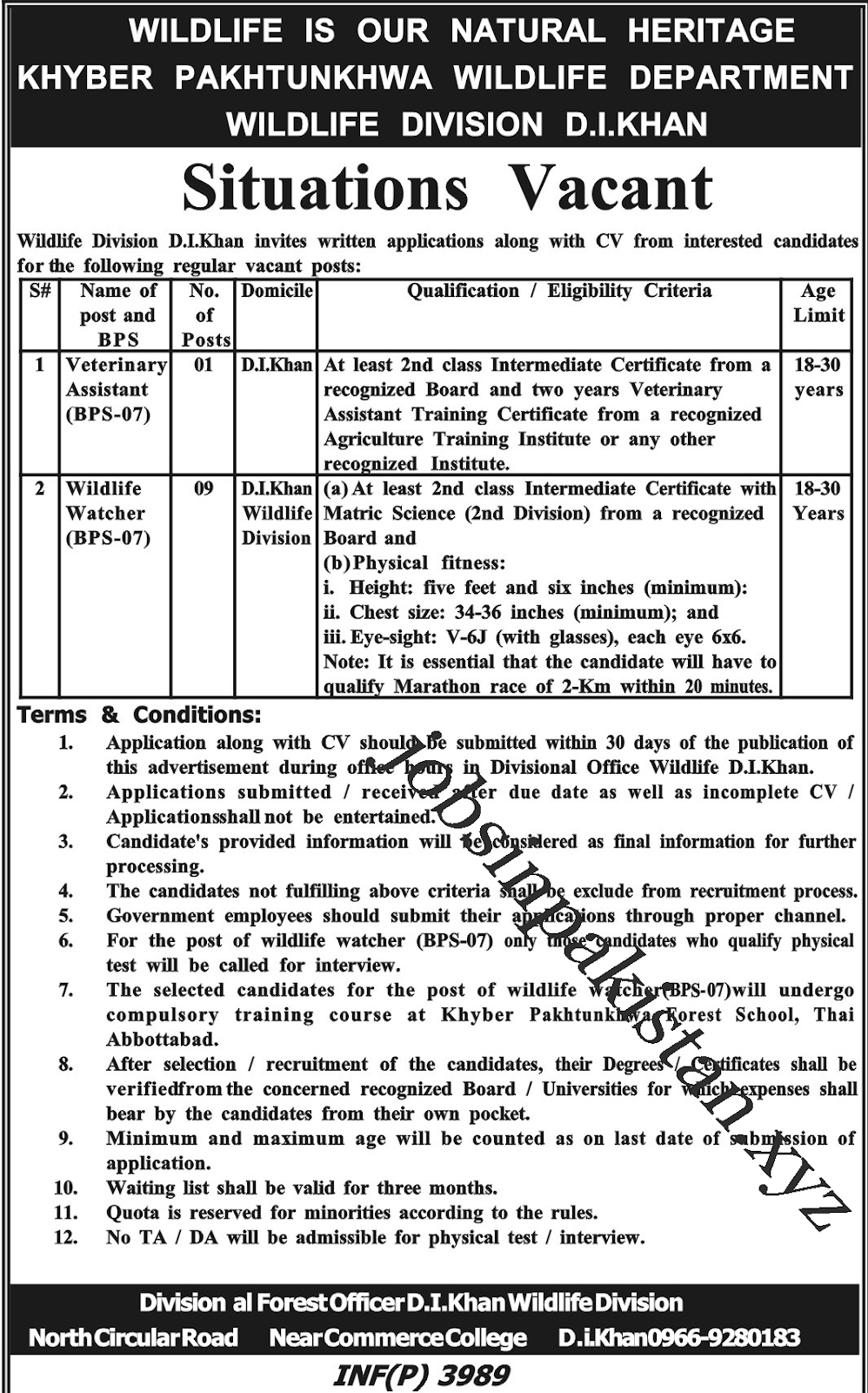 Advertisement for Wildlife Department KPK Jobs 2018