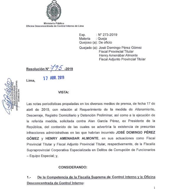 Resolución N° 795- 2019 Oficina Desconcentrada de Control Interno de la Fiscalía, la diligencia de Allanamiento
