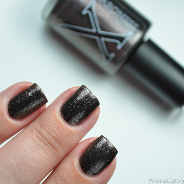 black nail polish red shimmer