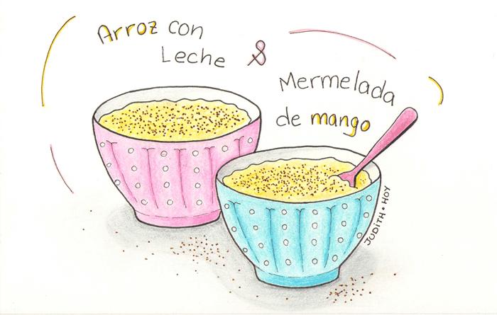 arroz con leche y mermelada de mango