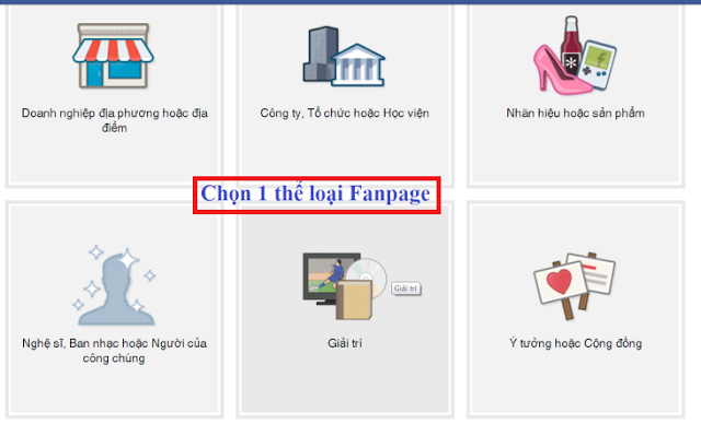 Chọn thể loại Fanpage khi chuyển nick facebook profile sang fanpage