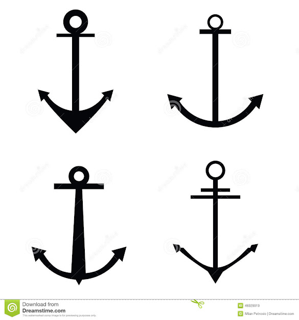 Anchor Four Icon Vector Silhouette Royalty Free Stock Images