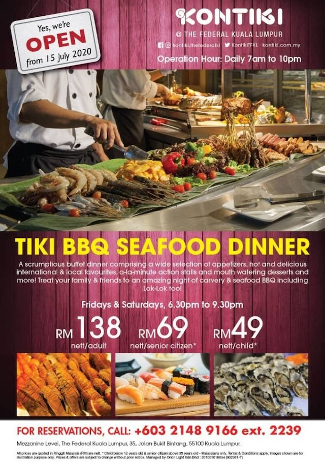 Tiki BBQ Seafood Dinner @ Kontiki Restaurant, The Federal KL