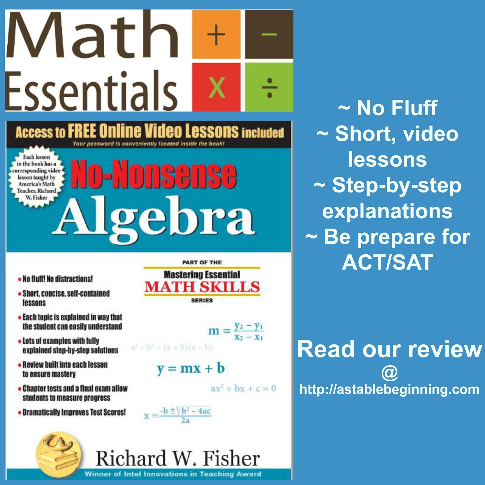 A Stable Beginning: Math Essentials: No-Nonsense Algebra ~ a TOS review