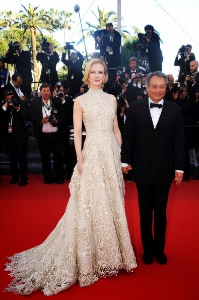 Nicole Kidman in nude Valentino, with Ang Lee in Cannes 2013