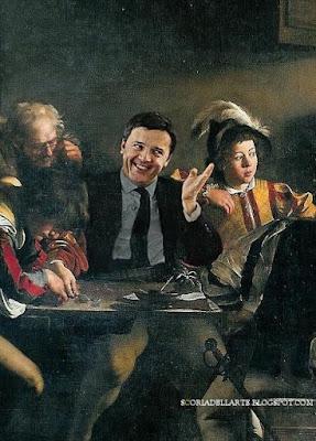 foto manipolazioni di quadri famosi-Caravaggio-Matteo Renzi