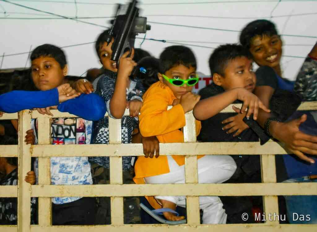 Teenagers enjoying Dashami at Bokajan