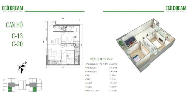 Căn hộ 13 - 20 chung cư EcoDream