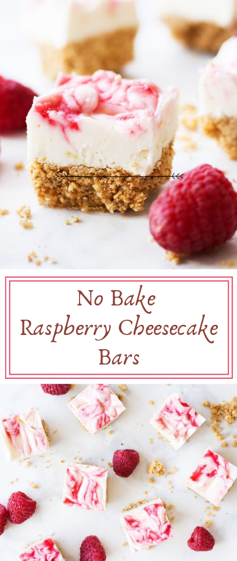 No Bake Raspberry Cheesecake Bars #desserts #cakerecipe
