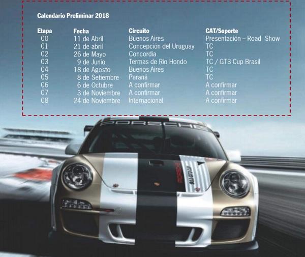 Calendario Porsche Cup Challenge Argentina
