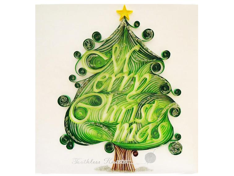 Quilled Christmas Tree Card / Quillingowa Kartka Bożonarodzeniowa z Choinką