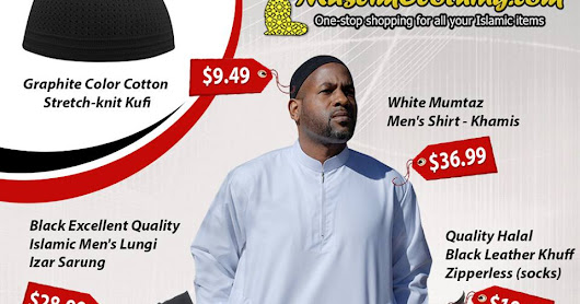 Unique selection of low-priced Men's Izars, kufis, khuff and Qamees from MuslimClothing.com with FREE shipping in the USA and low international shipping. - Muslim Clothing