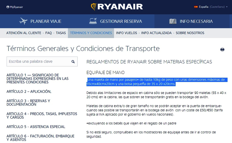 Ryanair. Términos Generales y Condiciones de Transporte
