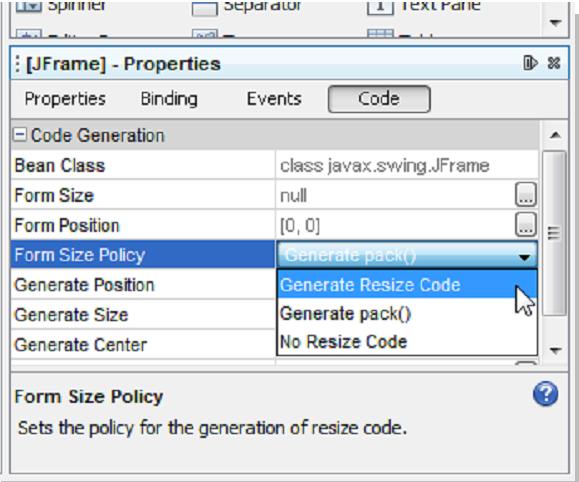 Seleccionando la opción Generate Resize Code de la propiedad Form Size Policy