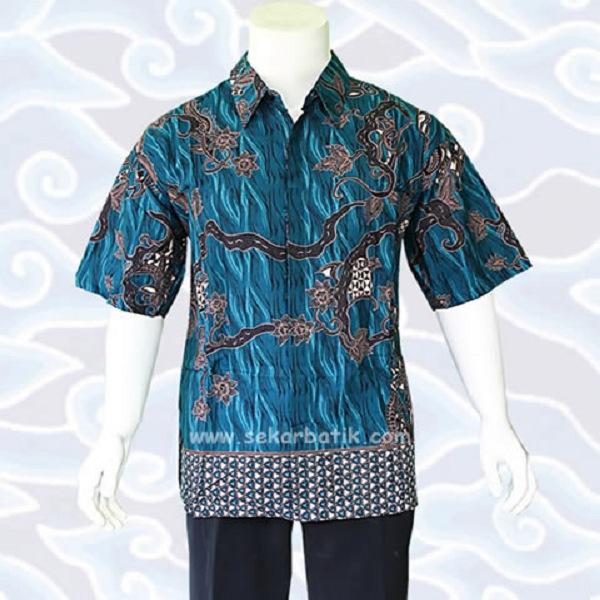 Kemeja Batik Gaul Wanita: Model Baju Batik Pria Gaul Keren Slim Fit Warna Biru