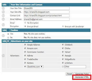 cara instant membuat privacy policy online
