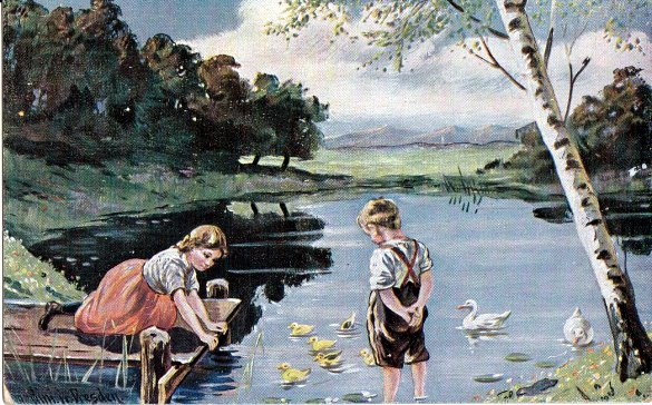 German postcard, boy, girl, river, ducks,