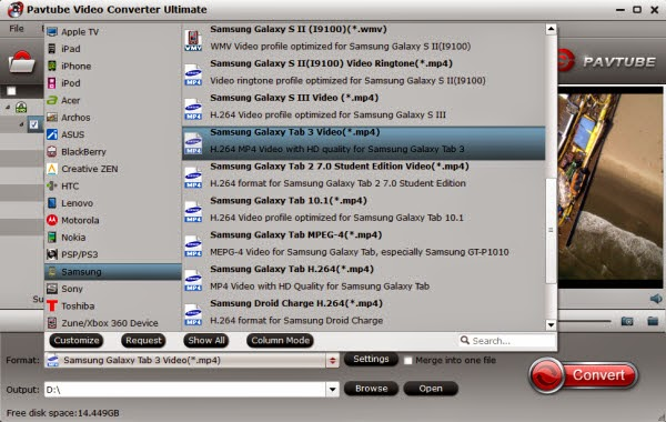 Galaxy Tab Pro readable MP4 format