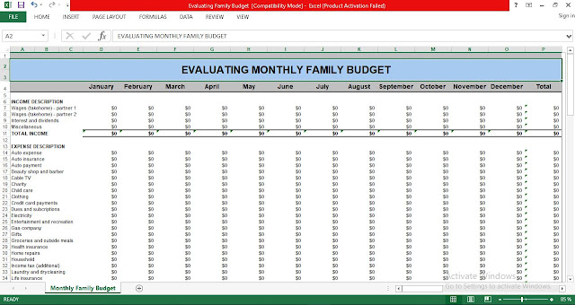 Download Evaluating Monthly Family Budget Excel Templates