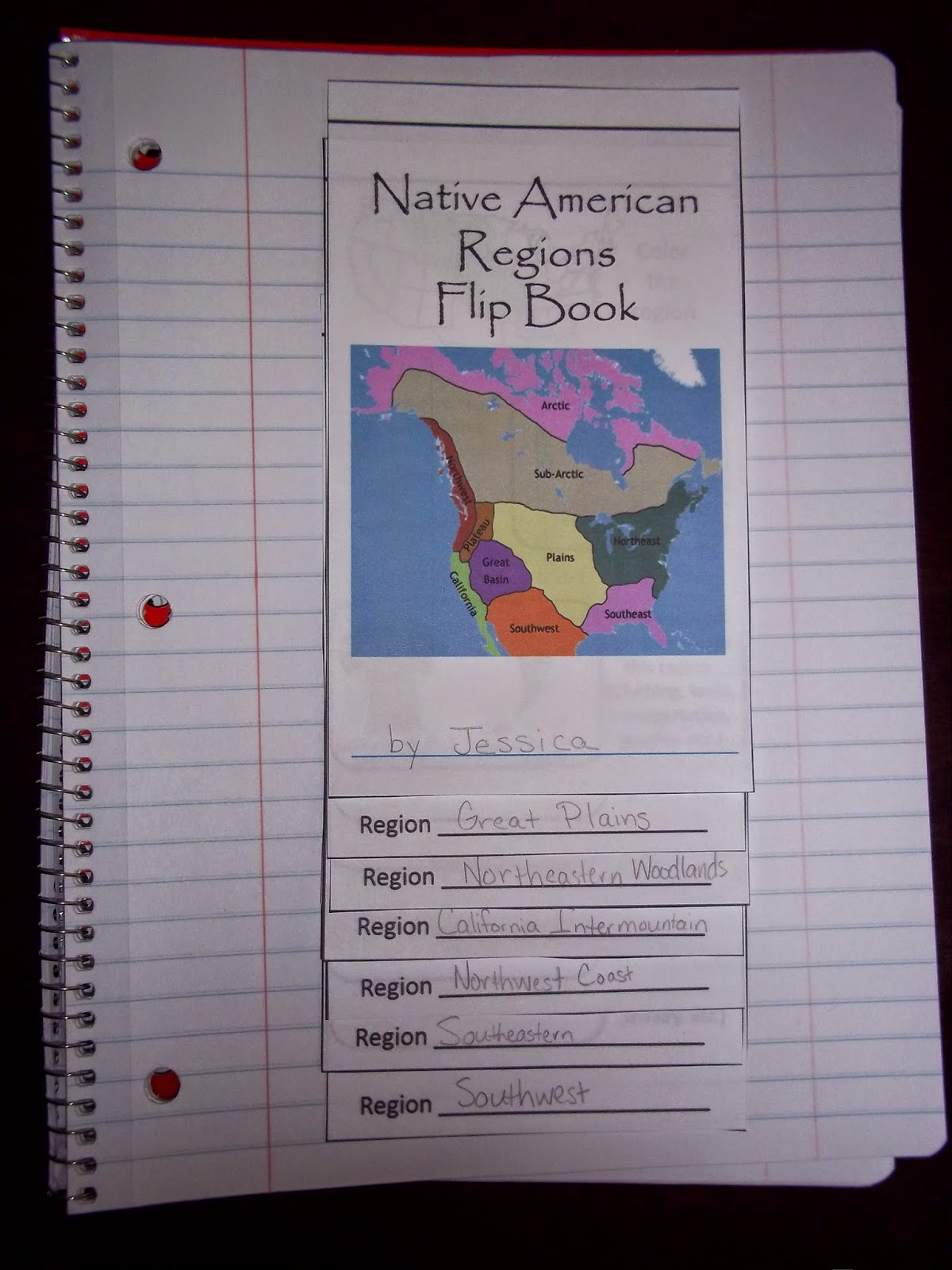 My Clever Endeavors Native American Regions Flip Book