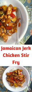 A sweet and spicy stir fry dish that will dreaming of Jamaica!  Jamaican Jerk Chicken Stir Fry - Slice of Southern