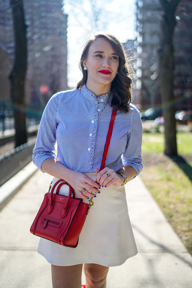 Krista Robertson, Covering the Bases,Travel Blog, NYC Blog, Preppy Blog, Style, Fashion Blog, Travel, Fashion, Style, Spring Fashion, Spring Style, White Skirts, Red Accessories, Preppy Looks, Preppy Style, Wizard of Oz Shoes, Designer Handbags, Celine