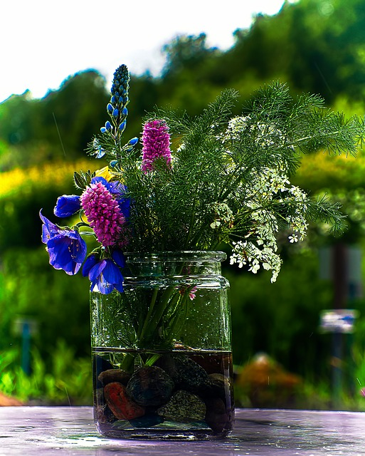 summer flowers in a jar