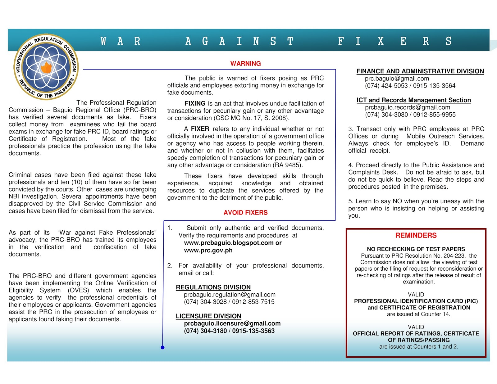 ria compliance manual template - prc baguio information site complaints