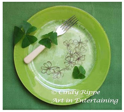 Painted plate, Shamrocks, Pen & Ink, Decoupage, Glass Painting, St Pats Day, Florals-Family-Faith, Cindy Rippe