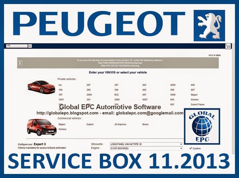 GLOBAL EPC AUTOMOTIVE SOFTWARE PEUGEOT SERVICE BOX 112013 EPC