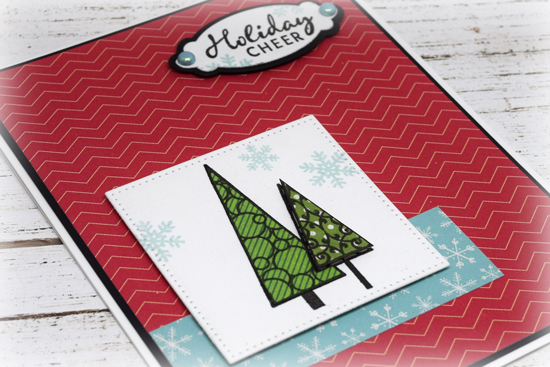 Handmade Christmas card by Julee Tilman featuring Verve Stamps.