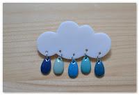 broche nuage et gouttes bleues