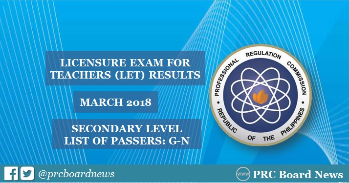 G-N List of Passers: March 2018 LET Result Secondary