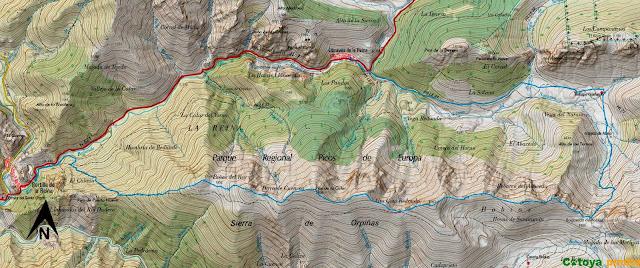 Mapa IGN de la ruta a la Sierra de Orpiñas