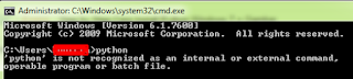 'python' is not recognized as an internal or external command, operable program or batch file.
