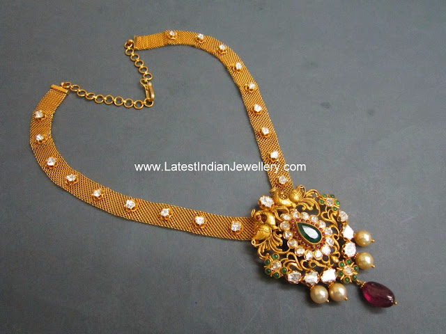 designer mesh necklace nakshi gold pendant