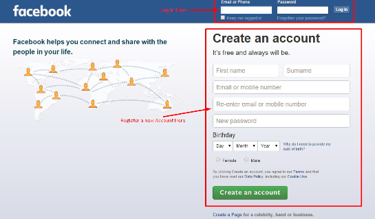 Facebook Login Sign Up Home Page